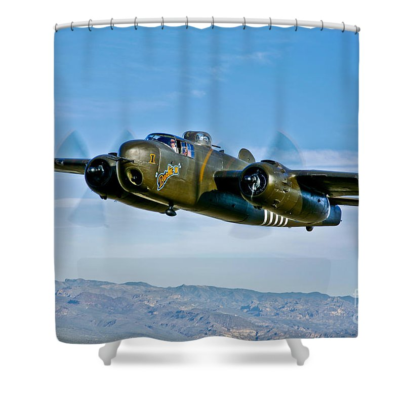 Horizontal Shower Curtain featuring the photograph North American B-25g Mitchell Bomber by Scott Germain