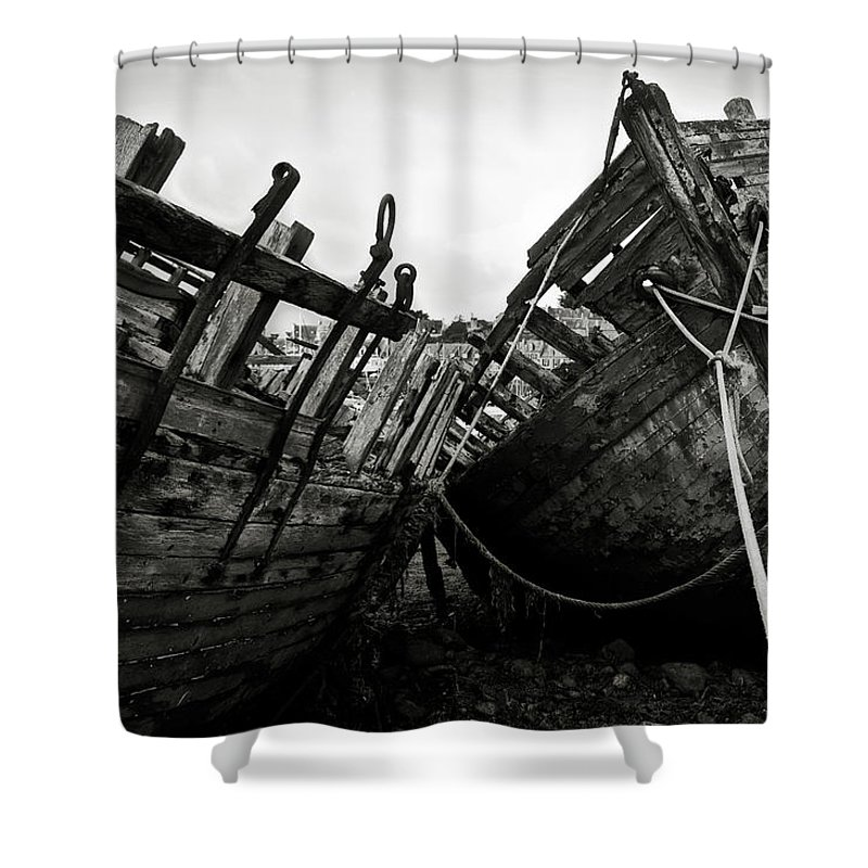 Old Shower Curtain featuring the photograph Old Abandoned Ships by RicardMN Photography