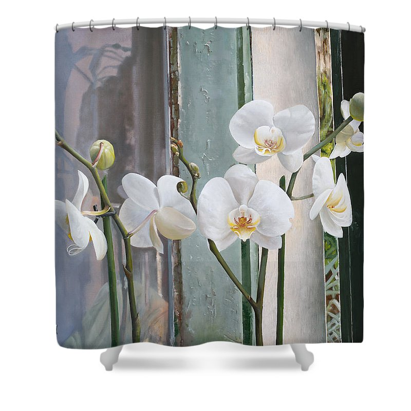 Still Life Shower Curtain featuring the painting 4 Orchidee by Danka Weitzen