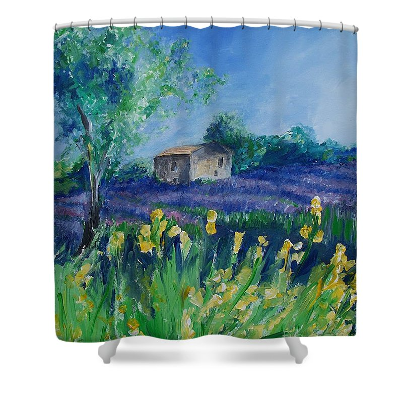 Provence Shower Curtain featuring the painting Provence Lavender Field by Eric Schiabor