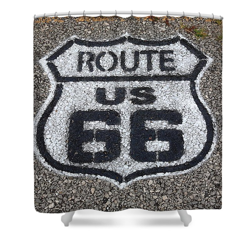 66 Shower Curtain featuring the photograph Route 66 Shield by Frank Romeo