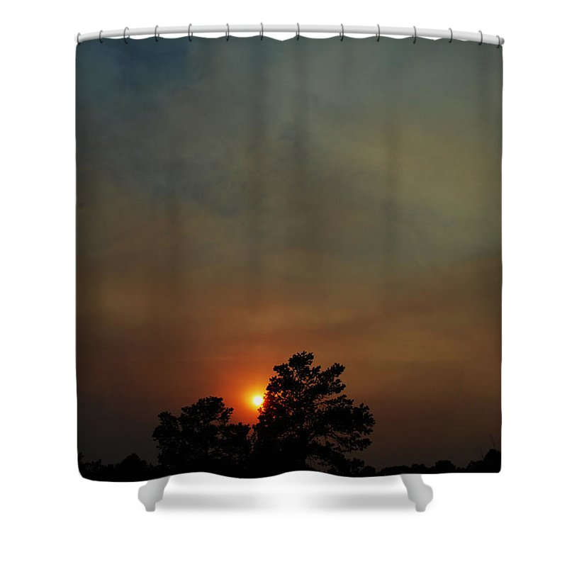 Becky Furgason Shower Curtain featuring the photograph #sunset by Becky Furgason