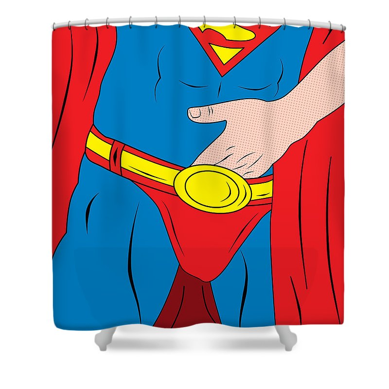 Pop Culture Shower Curtain Featuring The Digital Art Superman By Mark Ashkenazi