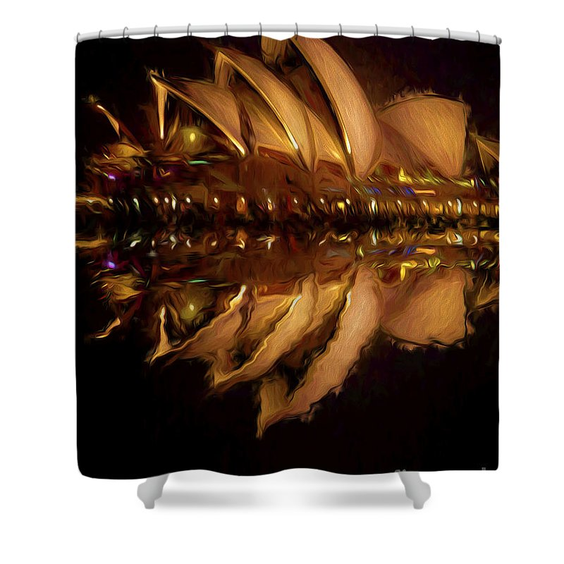 Sydney Harbour Shower Curtain featuring the photograph Sydney Opera House abstract by Sheila Smart Fine Art Photography
