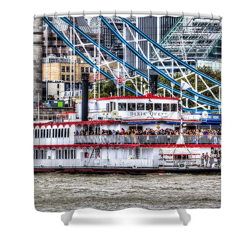 Tower Bridge Shower Curtain featuring the photograph The Dixie Queen Paddle Steamer by David Pyatt