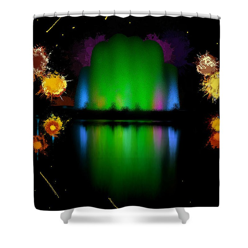 Colorful Shower Curtain featuring the painting The Electric Fountain by Bruce Nutting