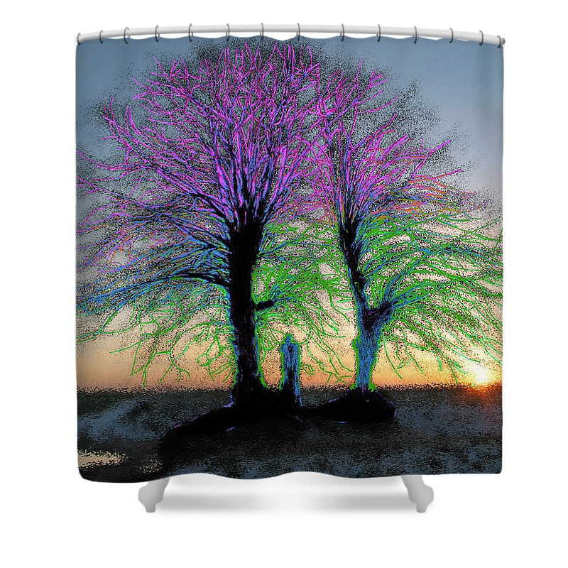 Trees Shower Curtain featuring the painting Trees Aglow by Bruce Nutting