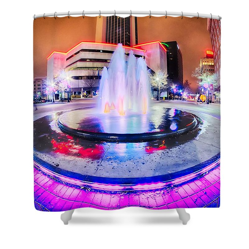 Tulsa Shower Curtain featuring the photograph Tulsa City Skyline Around Downtown Streets by Alex Grichenko