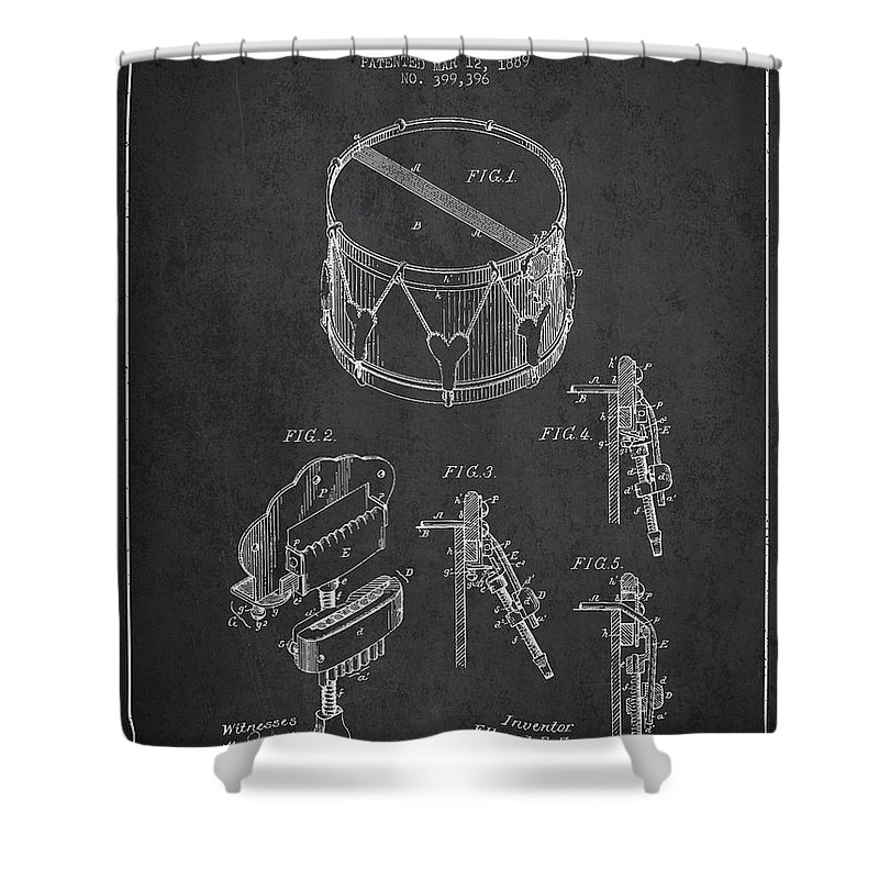 Snare Drum Shower Curtain featuring the digital art Vintage Snare Drum Patent Drawing From 1889 - Dark by Aged Pixel