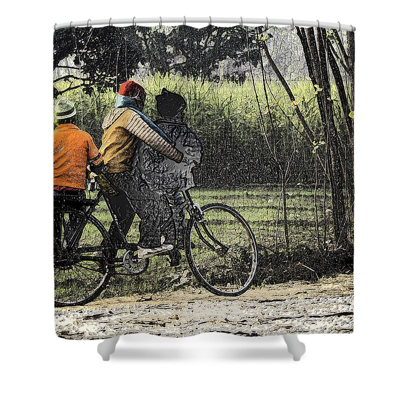 Balancing On A Cycle Shower Curtain featuring the digital art 3 Young Children On A Cycle At The Side Of The Road by Ashish Agarwal