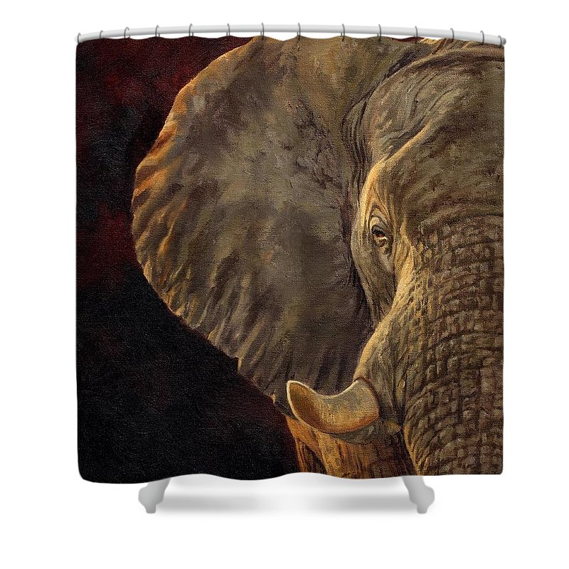 Elephant Shower Curtain featuring the painting African Elephant by David Stribbling