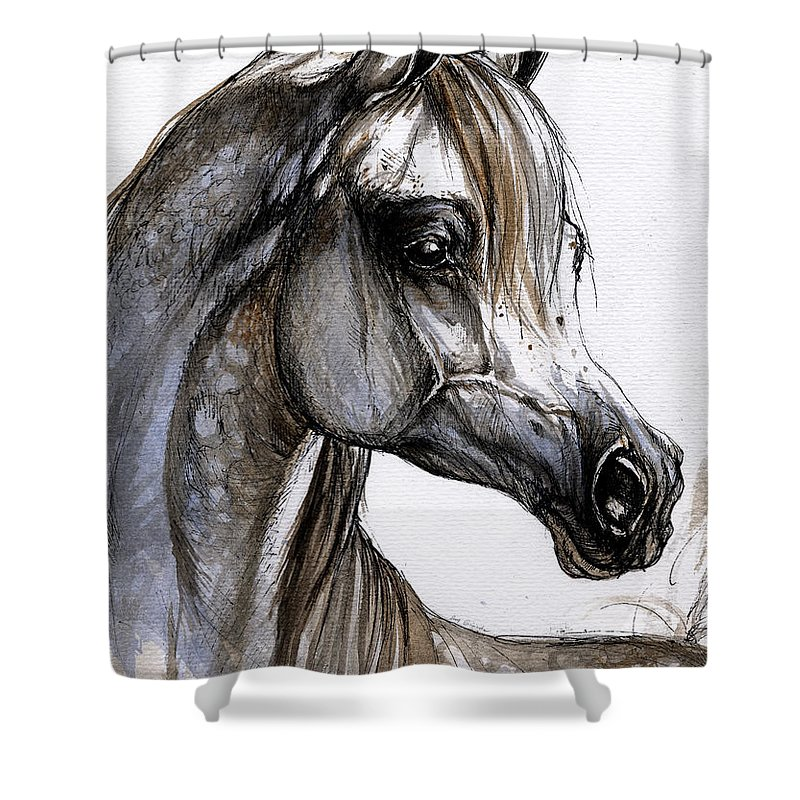 Horse Shower Curtain featuring the painting Arabian Horse by Angel Ciesniarska