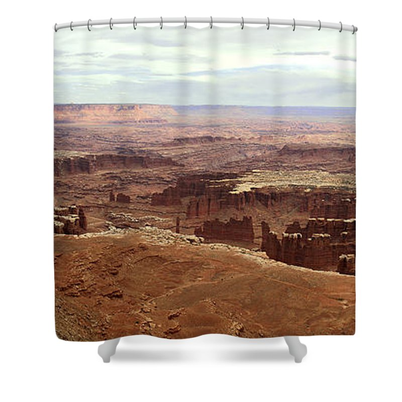 Brett Pfister Canyonlands National Park Popular Artist Fine Art Photography Epic Grand Scene Landscape Mountain Amazing Vintage Old Tall Massive Colorado Utah Arkansas Trees River Valley Sunset Sunrise Rock Location Bright Colorful Clouds Scenic Elevation High Rugged Realistic Canon Wide Shower Curtain featuring the photograph Canyonlands National Park In Utah by Brett Pfister