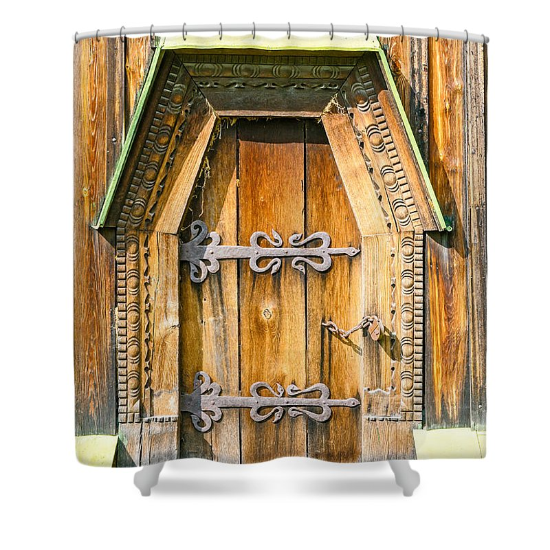 Kiev Shower Curtain featuring the photograph Detail Of The Door Of A Typical Ukrainian Antique Orthodox Churc by Alain De Maximy
