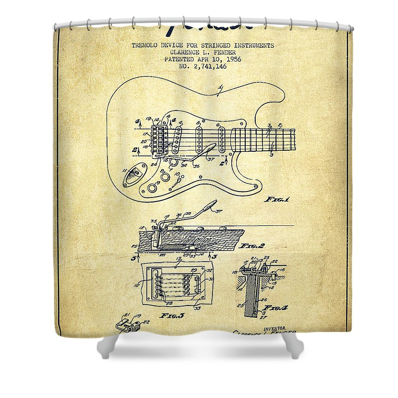 Fender Shower Curtain featuring the drawing Fender Tremolo Device Patent Drawing From 1956 by Aged Pixel