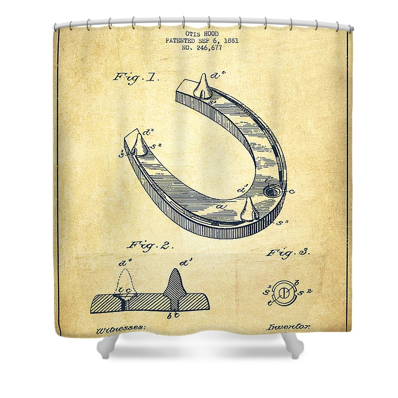 Horseshoe Shower Curtain featuring the digital art Horseshoe Patent Drawing From 1881 by Aged Pixel