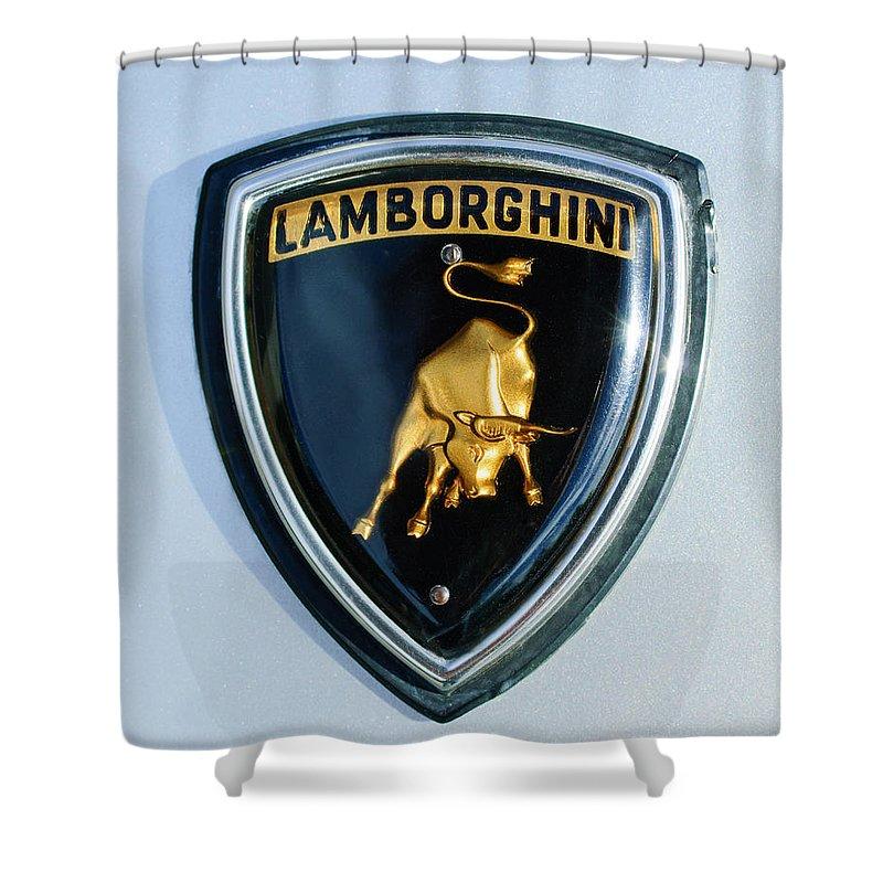 Lamborghini Emblem Shower Curtain featuring the photograph Lamborghini Emblem by Jill Reger