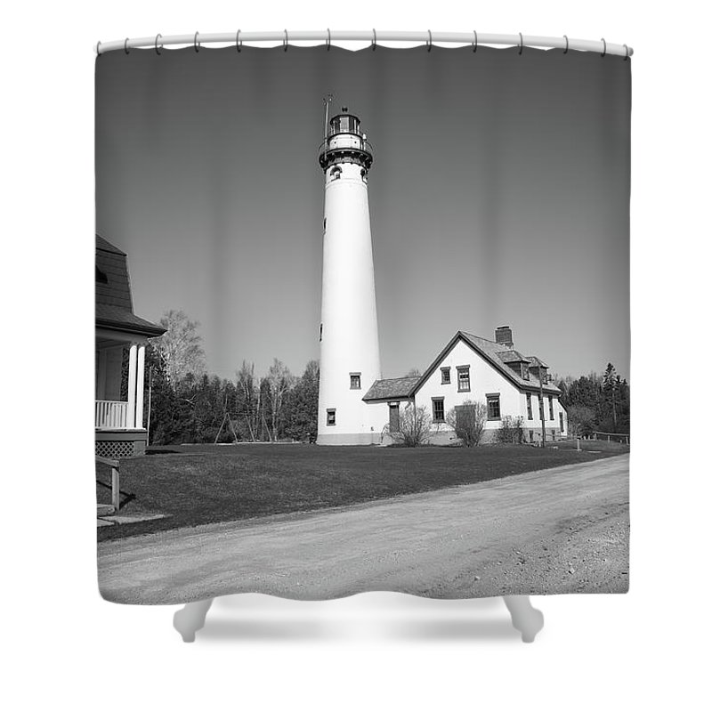 America Shower Curtain featuring the photograph Lighthouse - Presque Isle Michigan by Frank Romeo