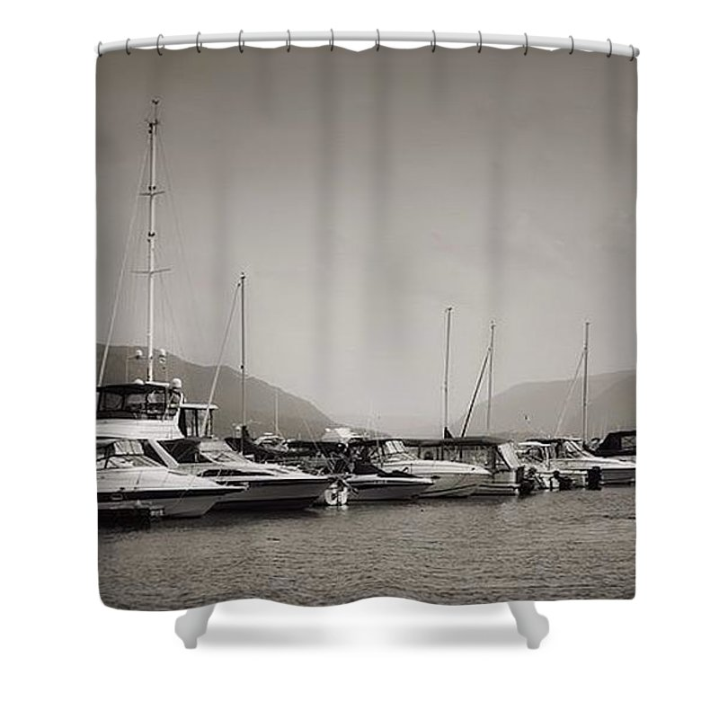 Travel Shower Curtain featuring the photograph Newburgh Water Front by Chet B Simpson
