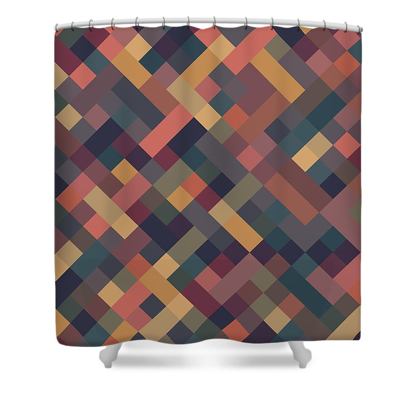 Abstract Shower Curtain featuring the digital art Pixel Art by Mike Taylor
