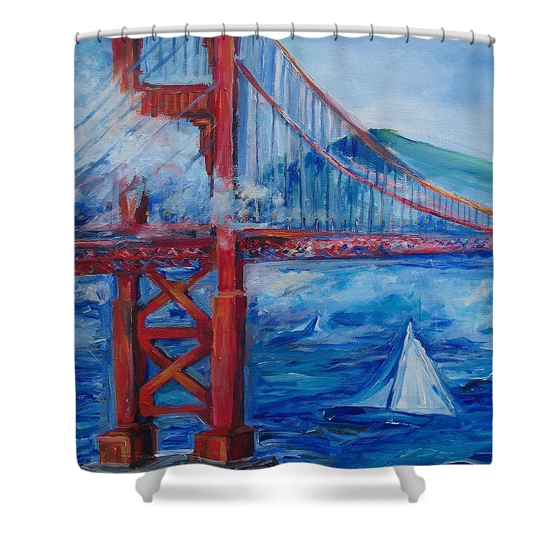 San Francisco Shower Curtain featuring the painting San Francisco Golden Gate Bridge by Eric Schiabor