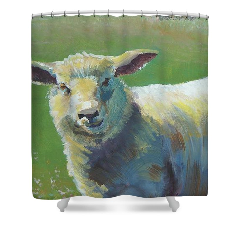 Farm Shower Curtain featuring the painting Sheep by Mike Jory