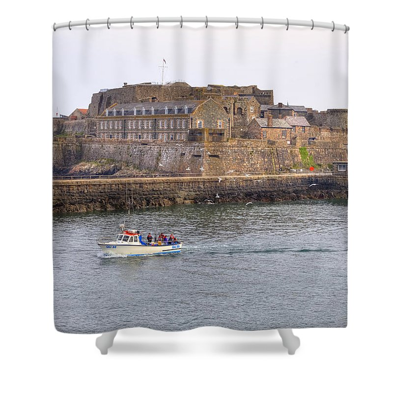 Castle Cornet Shower Curtain featuring the photograph St Peter Port - Guernsey by Joana Kruse