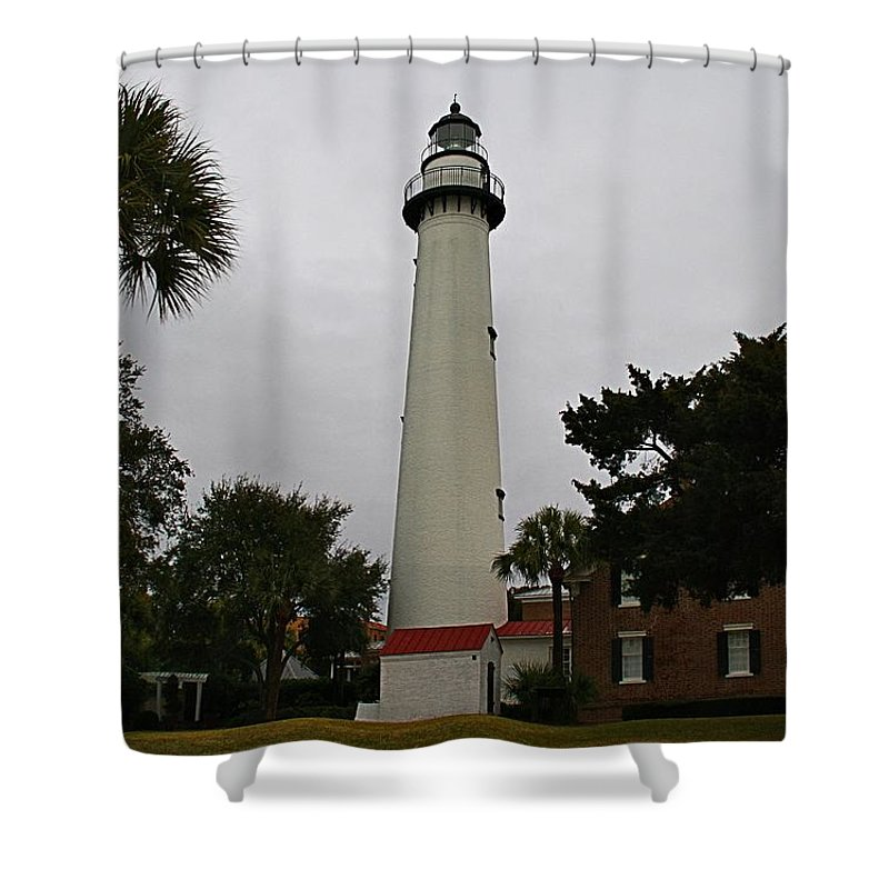 Lighthouse Shower Curtain featuring the photograph St Simons Island Lighthouse by Kathryn Meyer
