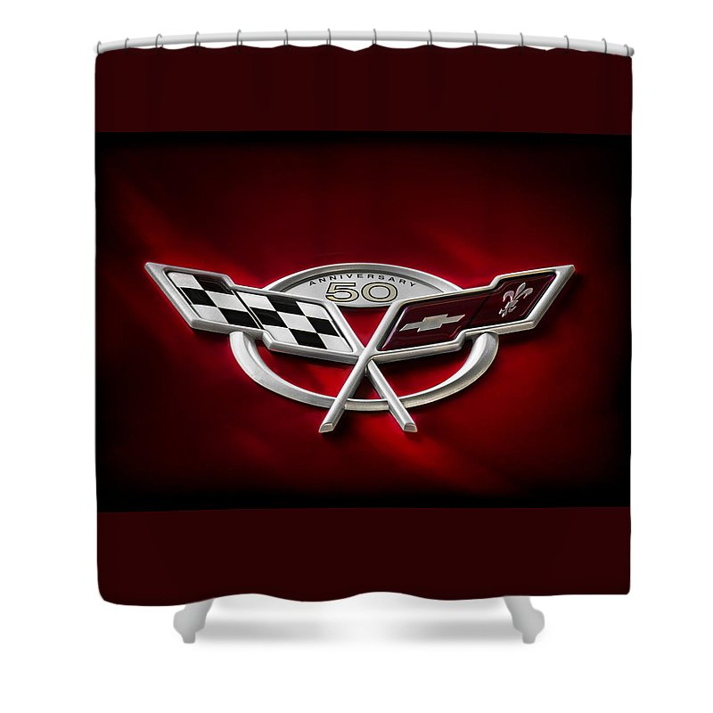Corvette Shower Curtain featuring the digital art 50th Anniversary by Douglas Pittman