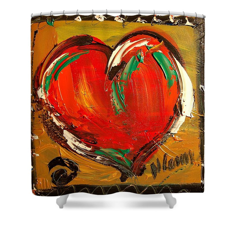 Shower Curtain featuring the painting Heart by Mark Kazav