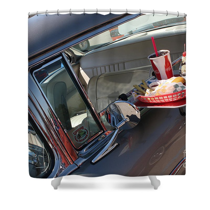 1955 Chevrolet Bel Air Shower Curtain featuring the photograph 55 Bel Air Door-8190 by Gary Gingrich Galleries