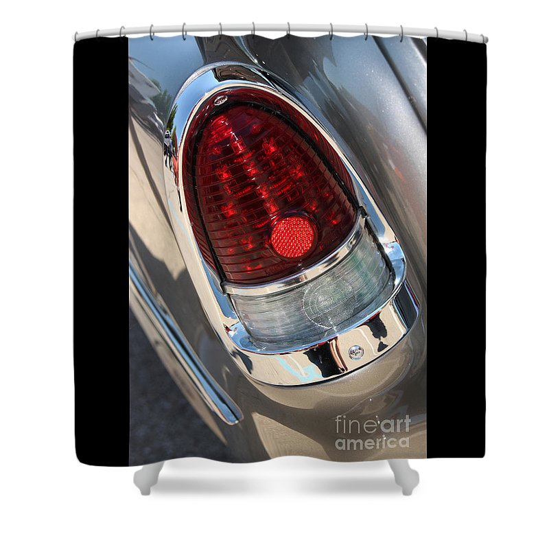 1955 Chevrolet Bel Air Shower Curtain featuring the photograph 55 Bel Air Tail Light-8184 by Gary Gingrich Galleries