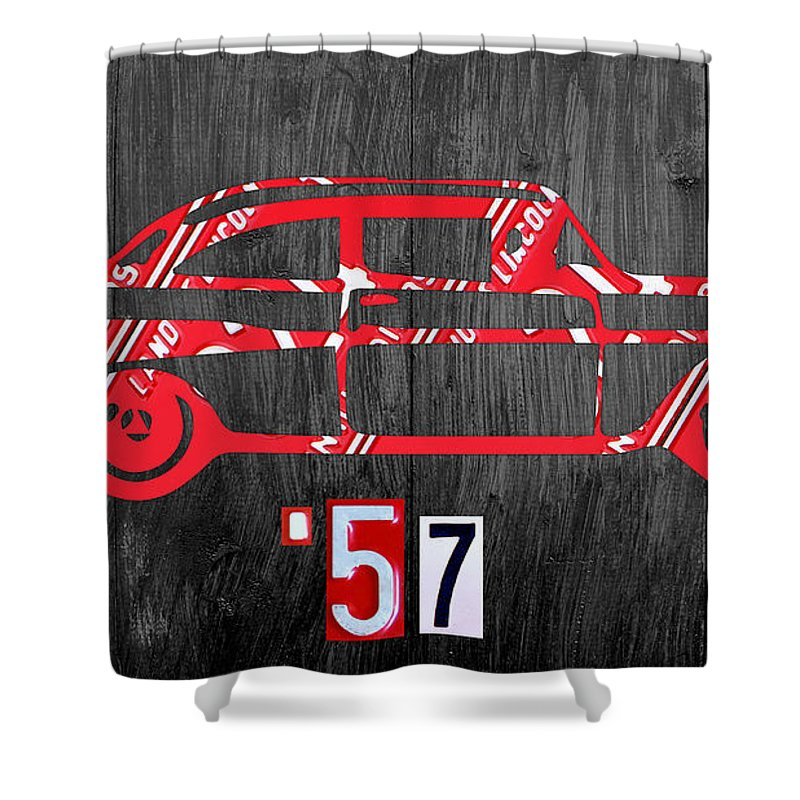 57 Chevy License Plate Art 1957 Car Auto License Plate Map Shower Curtain featuring the mixed media 57 Chevy License Plate Art by Design Turnpike