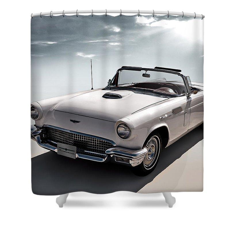 Vintage Shower Curtain featuring the digital art 57 T-Bird by Douglas Pittman