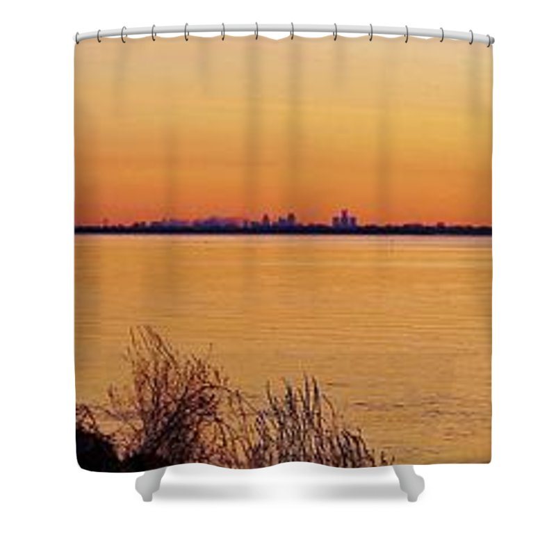 Michigan Shower Curtain featuring the photograph 6 33 Am. Pano by Daniel Thompson