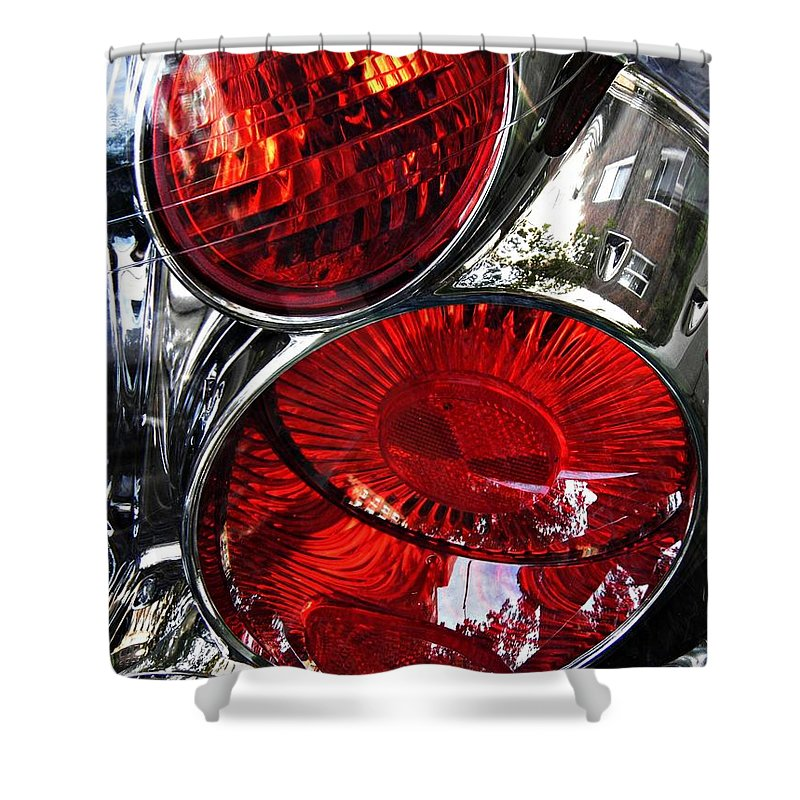 Glass Shower Curtain featuring the photograph Brake Light 13 by Sarah Loft