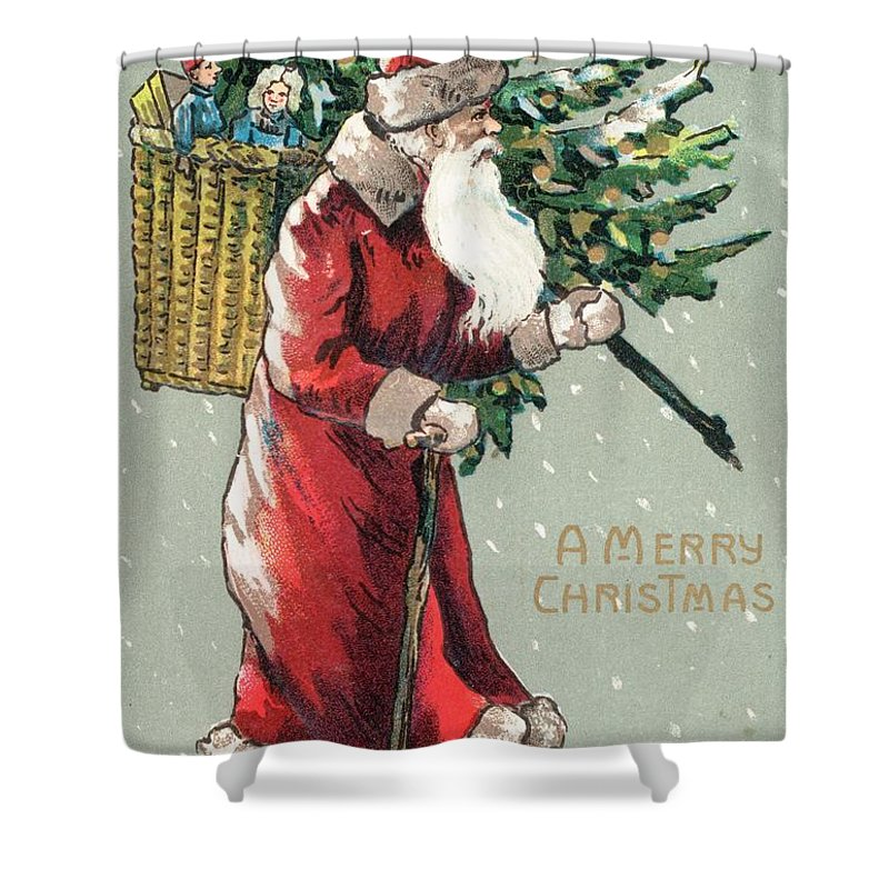 Santa Claus Shower Curtain featuring the painting Christmas Card by English School