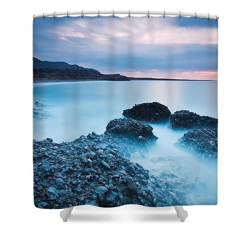 Europe Shower Curtain featuring the photograph Blue Crete. by Milan Gonda