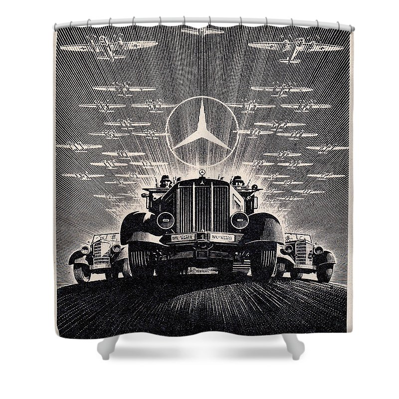 Car Shower Curtain featuring the drawing Mercedes - Benz by Oleg Konin