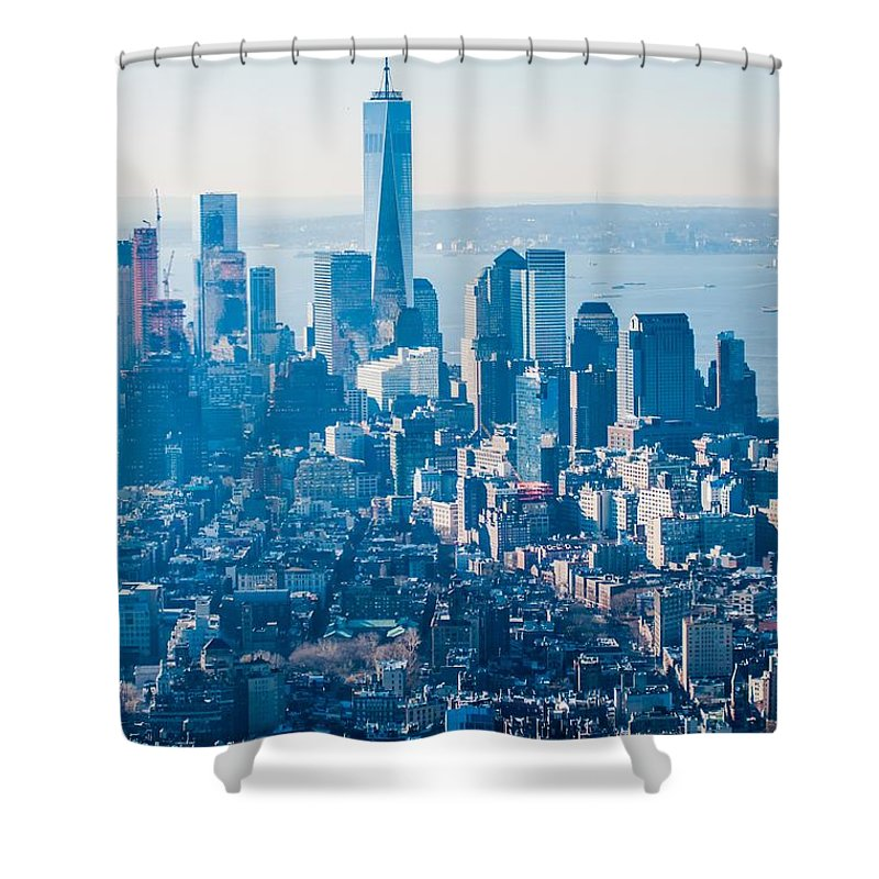 New Shower Curtain featuring the photograph New York City Manhattan Midtown Aerial Panorama View With Skyscr by Alex Grichenko