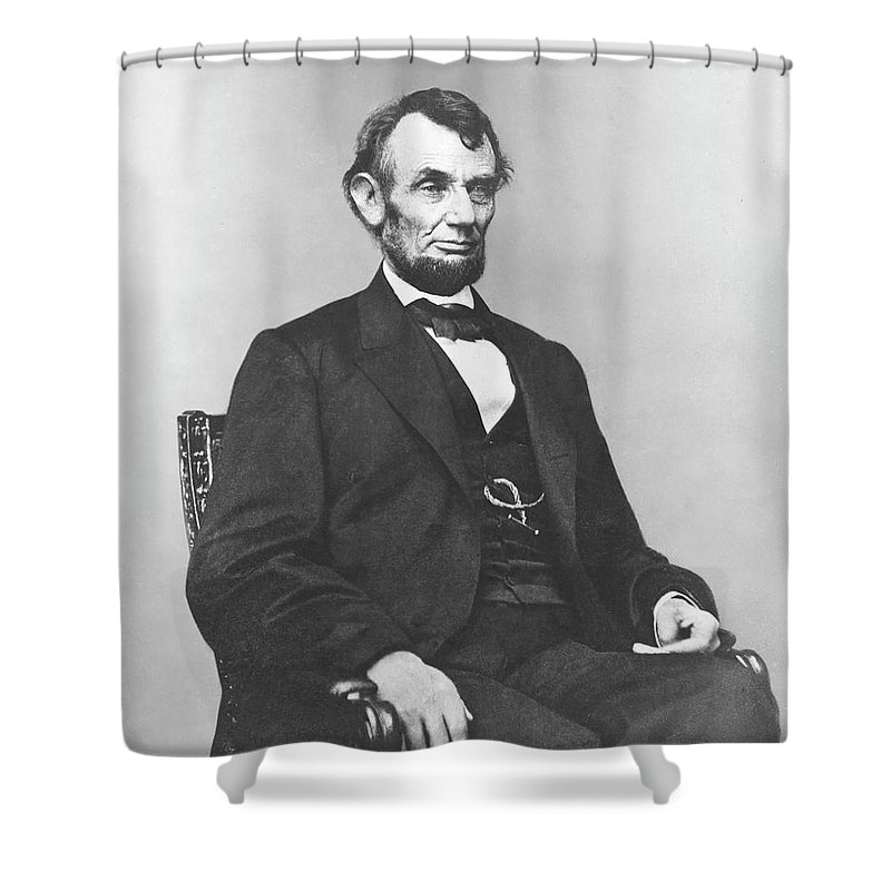 Abraham Lincoln Shower Curtain featuring the photograph President Lincoln by War Is Hell Store