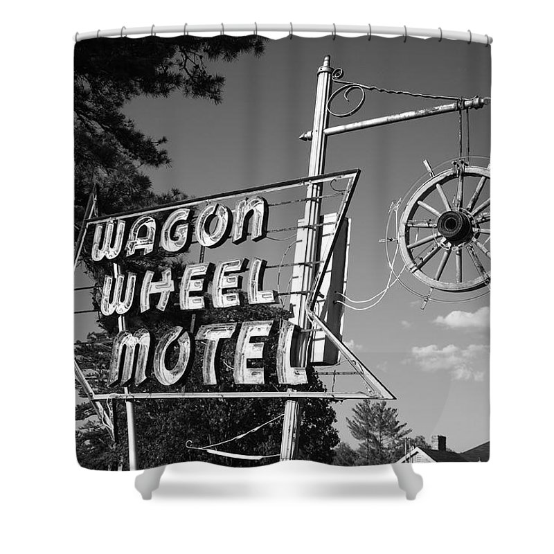 66 Shower Curtain featuring the photograph Route 66 - Wagon Wheel Motel by Frank Romeo
