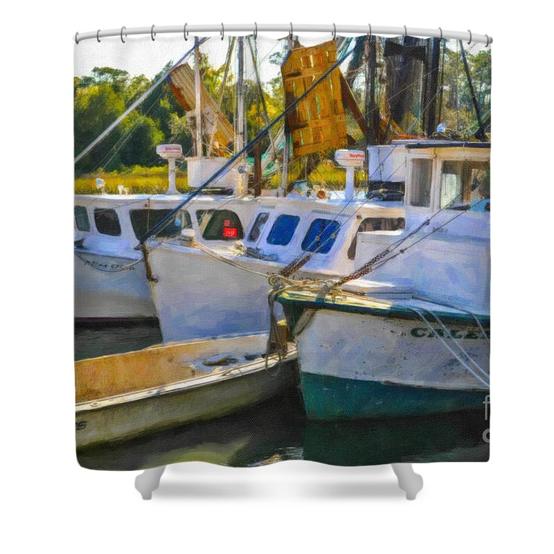 Shrimp Boats Shower Curtain featuring the digital art Shrimp Boats by Dale Powell