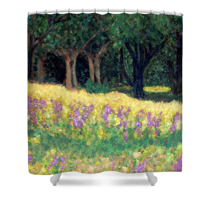 Texas Shower Curtain featuring the painting Texas Gold by Carolyn Donnell