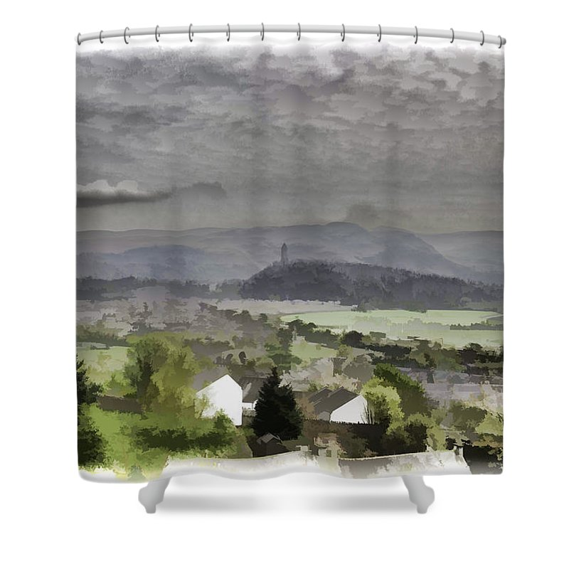 Action Shower Curtain featuring the photograph View Of Wallace Monument And Surrounding Areas by Ashish Agarwal