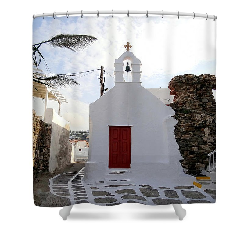The Greek Isles Shower Curtain featuring the photograph Views From Mykonos Greece by Richard Rosenshein
