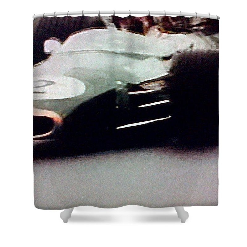 Formula 1 Racing Shower Curtain featuring the photograph 60's Era Formula 1 Race by George Pedro