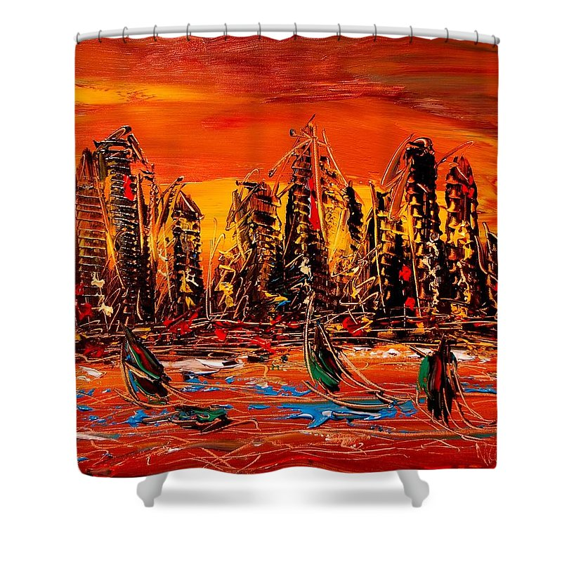 Shower Curtain featuring the painting City by Mark Kazav