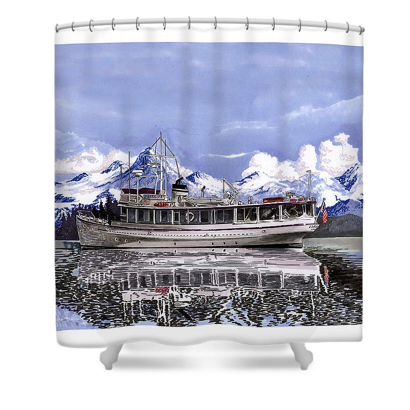 A Custom Yacht Portrait Shower Curtain featuring the painting Alaska Yachting by Jack Pumphrey