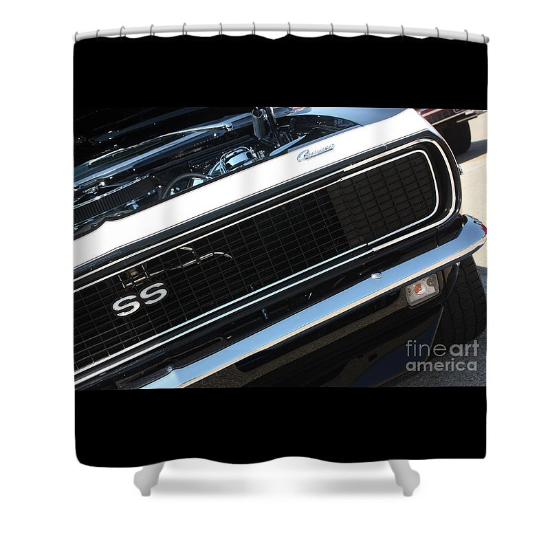 1967 Shower Curtain featuring the photograph 67 Black Camaro Ss Grill-8039-2 by Gary Gingrich Galleries